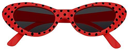 Das Kostümland Anteojos de Ojo de Gato Arenosos con Puntos: Excelentes anteojos al Estilo de los años 50 y 60 (Rojo Negro)
