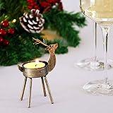 Kurala 6 Pack Metal Reindeer Tea Light Candle Holders Christmas Decorations
