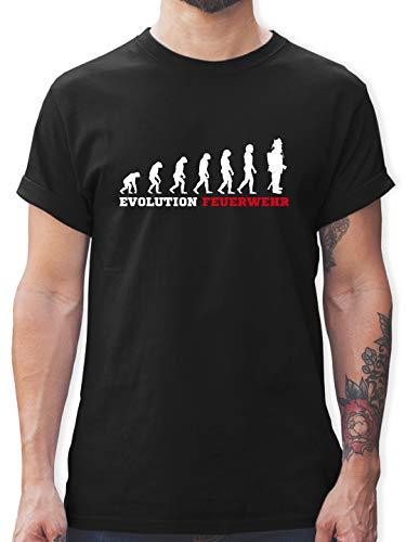 Feuerwehr - Evolution Feuerwehr - L - Schwarz - Feuerwehr t Shirts männer - L190 - Tshirt Herren und Männer T-Shirts