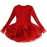 Verve Jelly BéBé Enfant en Bas âGe Filles VêTements Chandails pour Filles à Manches Longues à Volants Robes De Princesse Tenues FêTe Tutu Robes Rouge 140 7-8 T