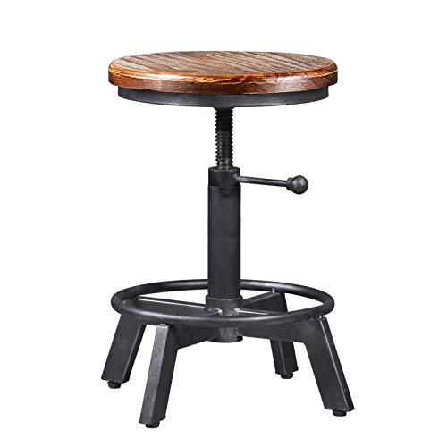 Industrial Bar Stool-Counter Height Chairs- Swivel Wooden Seat- Adjustable 15.2-21""