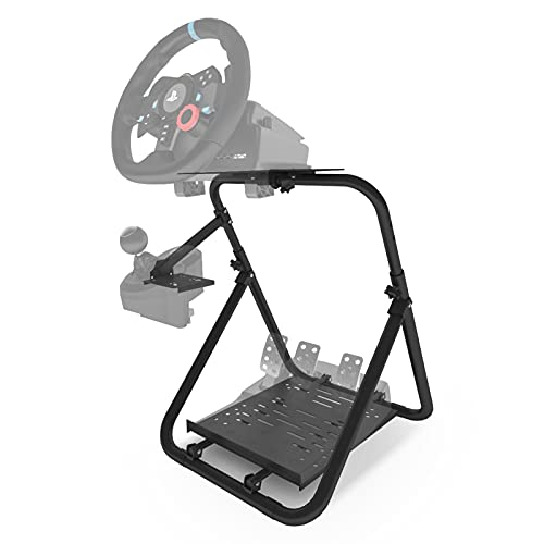 Hugomega Steering Wheel Stand, Foldable Racing Simulator Steering Wheel Stand for Logitech G25 G27 G29 G920 PS3 PS4 PS5 Xbox 360 Xbox One Most Thrustmaster[Wheel and Pedals NOT Included]