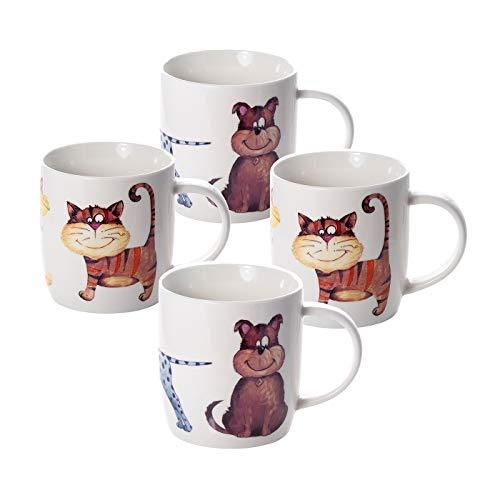 Juego Tazas de Café, Tazas Desayuno Originales de Té Café, Porcelana con Diseño de Gatos y Perros, 4 Piezas - Regalos para Amantes de los Animales Mujeres y Hombres