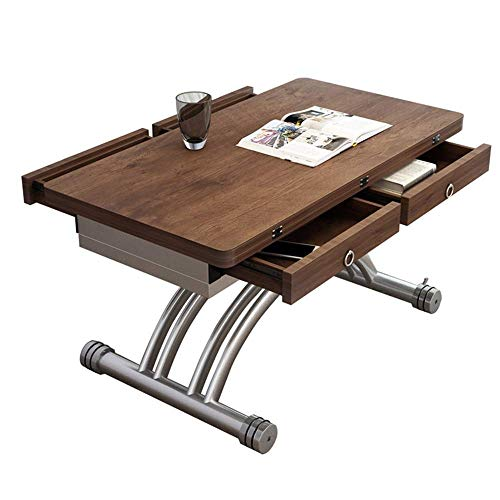 LILICEN LYJ Tavolino Possibile Sollevare Il Tavolino Diventa Un Tavolo da Pranzo Appartamento Piccolo Multifunzione casa Minimalista Salotto tavolino Vintage (Colore: Brown, Dimensione: 100x57x34cm)