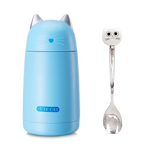11/17oz mignon chat tasse en acier isolé sous vide Mini bouteille d'eau de bande dessinée voyage...
