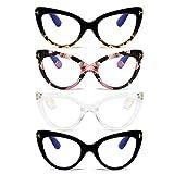 MMOWW - Confezione da 4 Occhiali da Lettura con Occhio di Gatto, Comodi e Alla Moda Grande Cat Eye, +1.5