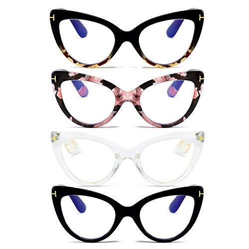 MMOWW - Confezione da 4 Occhiali da Lettura con Occhio di Gatto, Comodi e Alla Moda Grande Cat Eye, +2.5