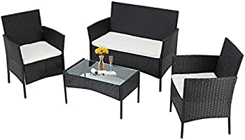 Mdeam 4-Piece Outdoor Rattan with Soft Cushion and Coffee Table