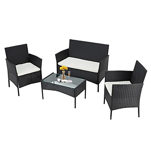 Mdeam 4 Piece Patio Set Wicker Furniture Sets Outdoor Rattan with Soft Cushion and Coffee Table,for...