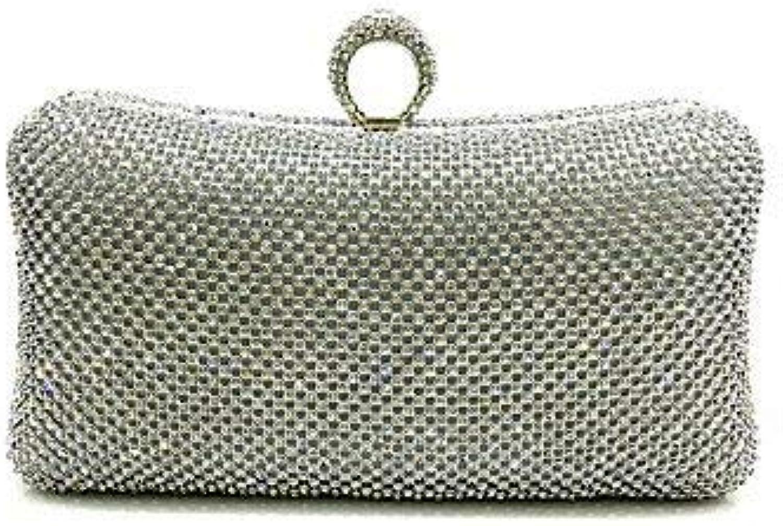 Ladies Handbag Women Elegant HighGrade Luxury Diamonds Evening Bag (color   Silver)