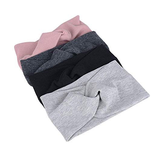 Voarge 4 Stück Haarband Damen Kopftuch Kopfband Stirnband mit Schleife aus Baumwolle Knoten Haarbänder(Schwarz/Grau/Pink/Dunkelgrau)