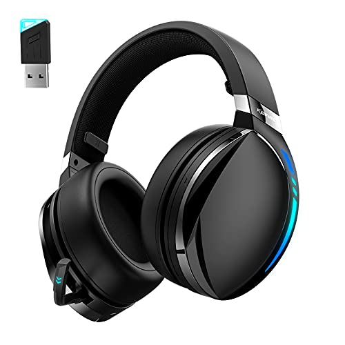 Kofire UG-06 Wireless Gaming Headset for PS4 PS5 PC, 30H Playtime, Low Latency, Noise Cancelling Over Ear Bluetooth Gaming Headphones with Dual Mic, 3D Surround Sound, RGB Lighting