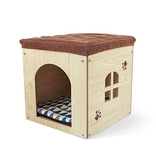 SONGWAY Casa de Madera pour Perro Gato - Taburete Caseta para Mascota con Cojín Extraíble para Cachorro y Gato,40×40×40cm