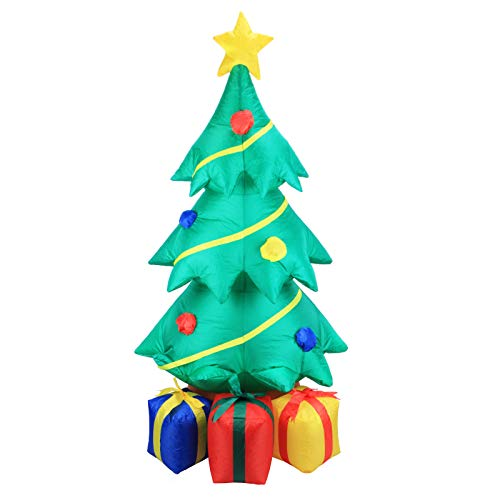 Afirst 4FT Inflatable Christmas Tree with Color Gift Boxes LED Lights Xmas Decoration for Outdoor Yard Garden Lawn Home