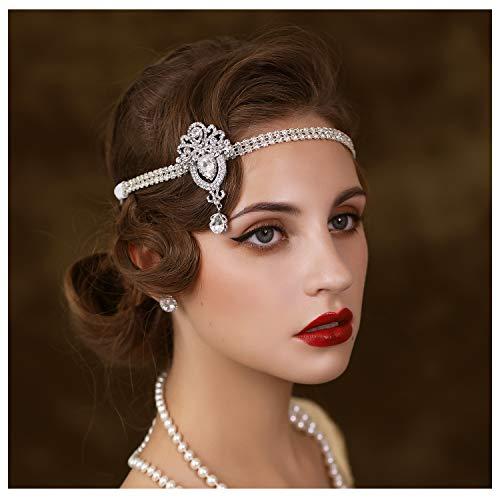 SWEETV 1920er Jahre Flaper Stirnband Great Gatsby Kopfbedeckung 20er Jahre Art Deco Hair Accessories Stirnband Silber