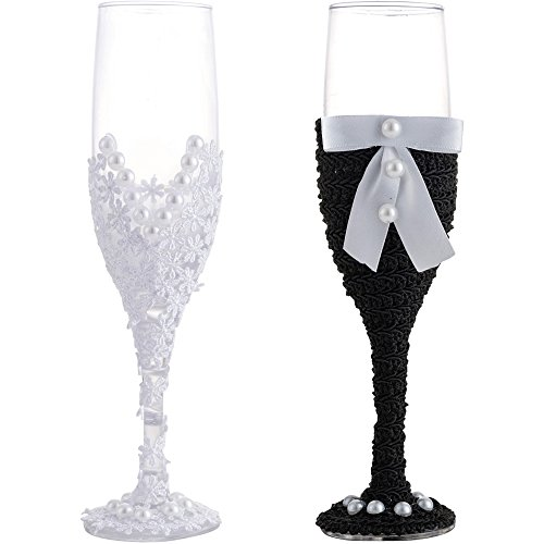 LONGBLE Hochzeit Sektkelche Braut und Bräutigam Champagner Gläser mit Handarbeit Kleider, 2 stücke Sektgläser Hochzeitsgeschenk Weingläser für brautpaar Hochzeit anrösten Art Deco Geschenk