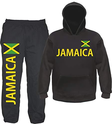 sostex Jamaica Jogginganzug - Bedruckt mit Flagge - Jogginghose und Hoodie M Schwarz