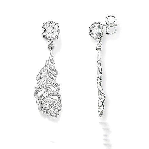 NOBRAND Pendientes Colgantes de Plumas de Plata Estilo Glam Fashion Good Jewerly para Mujeres TS Gift In 925 Silver