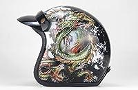 ハーフオープンフェイスオートバイDOTはヘルメットツーリングカップルの大人の男性&女性バイカースクーター用ヘルメット取り外し可能な4シーズン耳マッフルを承認しました,Dragon king,XL