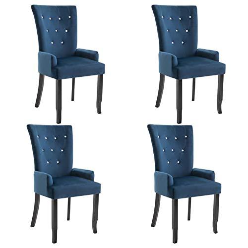 Tidyard Sillas de Comedor con Reposabrazos Sillas de Cocina Moderno Terciopelo Azul 4 Unidades 54 x 56 x 106 cm
