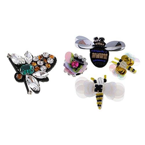 kowaku Parches de Tela de Lentejuelas con Cuentas de Diamantes de Imitación de 5 Piezas para Decoración de Prendas de Vestir