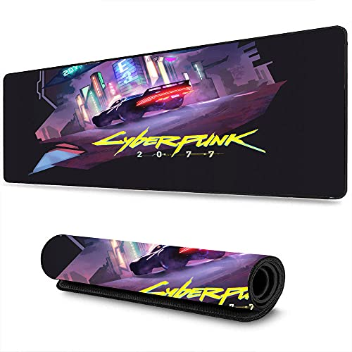 Large Size Professional Gaming Mouse pad Cyberpunk Athletic Game Future City Art Poster for Office Occasions, Wrist Support with Stitched Edges 11.8'x31.5'
