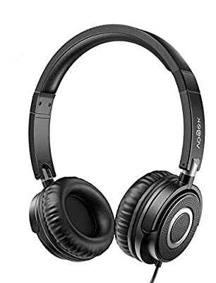 Foldable Headphones with Microphone, Vogek Lightweight On Ear Headphones Wired with Noise Isolating, Stereo Bass and Adjustable Headband for Mobile Phone Computer PC Laptop Tablet Mp4 Mp3 Black by Vogek
