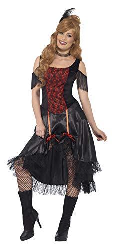 Smiffys 45507XS - Damen Saloon Girl Kostüm, Kleid, Halsreif und Haarschmuck, Größe: 32-34, schwarz