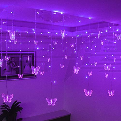 Allamp Multicolor Butterfly LED Strip Strip Holiday Luces de Navidad Guirnaldas 3.5m 100 SMD EU/EE.UU. UE/UK/AU Party Lámpara de Boda 110V / 220V (Emitting Color : Purple, Style : EU Plug)