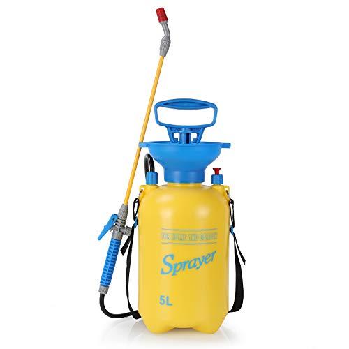 femor Drucksprüher Drucksprühgerät 5L Garten Sprühgerät mit Überdruckventil | verstellbare Düse | verstellbarem Schultergurt