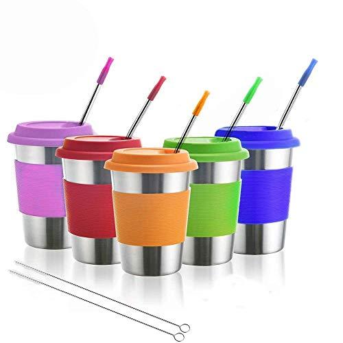 Tazas de acero inoxidable para niños, vasos de metal para beber con tapas de silicona, mangas, pajitas, perfectas para actividades interiores y exteriores de niños por Dorey-Ohm (paquete de 5 12 oz)