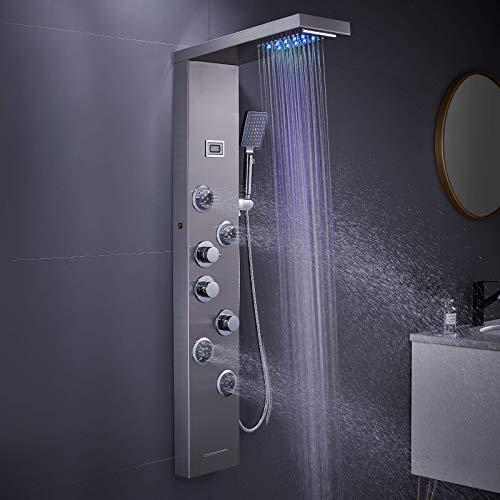 MENATT LED Shower Panel Tower System, 5 in 1 Stainless Steel LED Shower Column, Rainfall & Waterfall Head, Massage Jets, Tub Spout, Handheld Shower(Brushed)