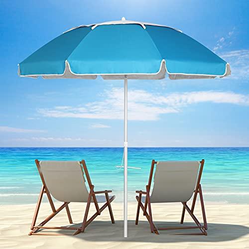 UHINOOS Beach Umbrella, 6.5ft Portable Beach Umbrella with Sand Anchor & Tilt Aluminum Pole, UV 50+ Sun Shelter with Carry Bag for Beach Patio Garden Outdoor (Blue)