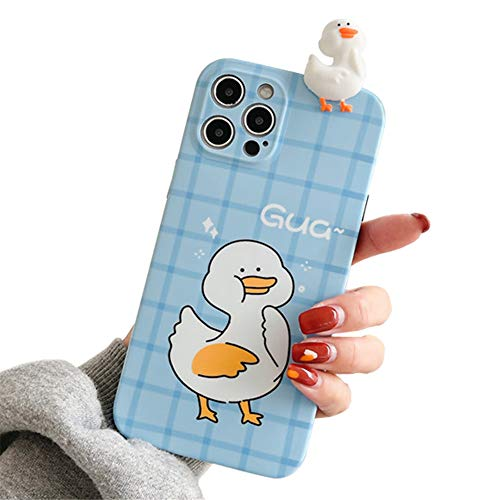 Süß Handyhülle kompatibel mit Apple iPhone XR Hülle mit 3D Ente Karikatur Puppe Weiche Silikon TPU Stoßfest Schutzhülle Cartoon Muster Motiv Hülle Cover für iPhone XR(Blau)
