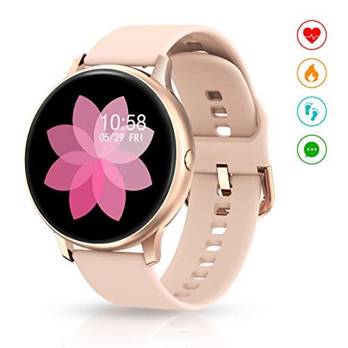 EIVOTOR Smartwatch para Mujer, Reloj Inteligente Pulsera Deportivo Pantalla Táctil Completa con Podómetro Calorías Monitor de Sueño Pulsómetros Cronógrafo Actividad de Fitness para Android iOS Rosa