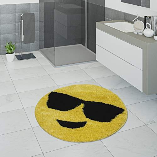 Paco Home Badematte, Smiley-Kurzflor-Teppich Für Badezimmer, Mit Emoji-Motiv In Gelb, Grösse:60x60 cm