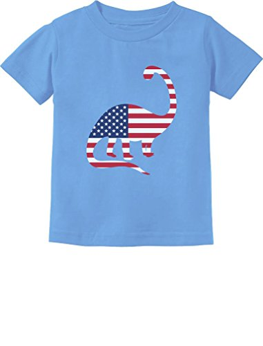 USA Dinosaur American Flag 4th of July Gift Toddler/Infant Kids T-Shirt 4T California Blue