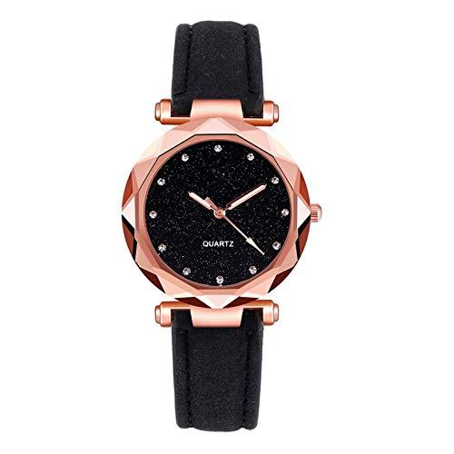 JIujiuwanli Damen Stilvoll Korean Quartz Uhr mit Leder Armband, Roségoldes Zifferblatt Strassdekoration, Luxusuhren für Damen, bequemer und temperamentvoller (schwarz)