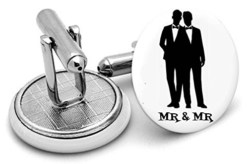 Mr et Mr Gay Mariage Boutons de manchette – Gay Cadeau de mariage – Cadeau de Partenariat Civil – Groomsmen Cadeau