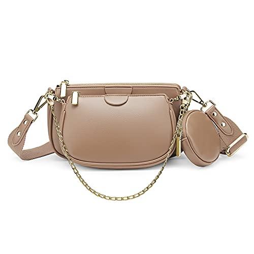 YALUXE Borsa a tracolla Borsetta donna 2 Tasca con cerniera e portamonete Pelle sintetica Fashion Beige