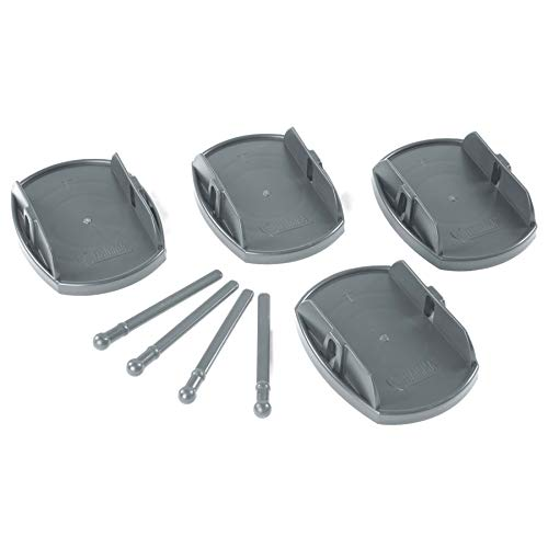 Leisurewize - Grey Pro-Paw+ Caravan Jack Pad Foot Leg Stable Level Support - 4 Pack - Quick & Simple To Attach, No Tools Required