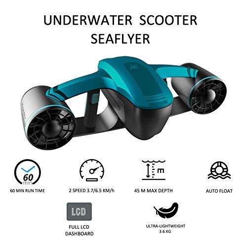 Seaflyer Scooter subacuático eléctrico 1.0 Azul RoboSea 45 Metros de Profundidad 2 velocidades 60min de Funcionamiento 64116121