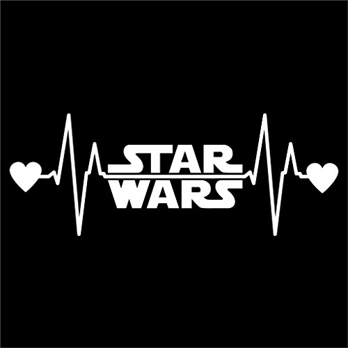 Star Wars Heartbeat Vinyl Decal Sticker | Cars Trucks Vans Walls Laptops Cups | White | 7.5 X 2.8 Inch | KCD1174