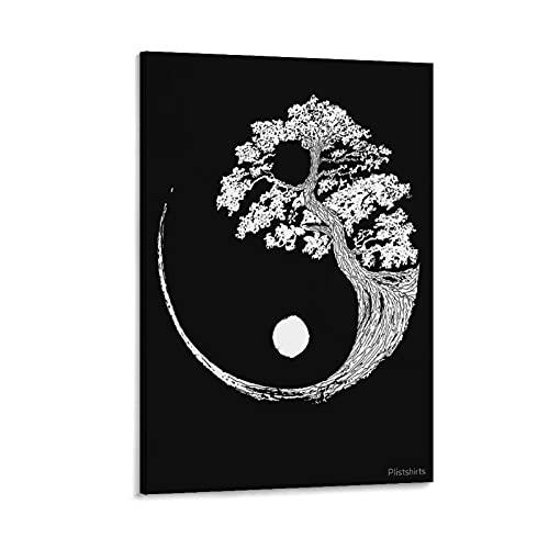 DFUJMNHYG Cuadro decorativo del árbol de la vida Yin Yang 2, lienzo para pared, sala de estar, dormitorio, 50 x 75 cm