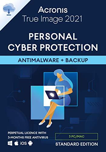 Acronis True Image 2021 | 3 PC/Mac | Cyber Protection-Lösung für Privatanwender| Integriertes Backup und Virenschutz | iOS/Android | Unbegrenzte Laufzeit | Aktivierungscode per Email