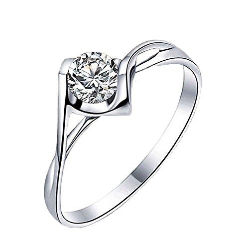 Leisial Regalo Femminile di Anello di Barretta del Diamante della Bocca di Diamante della Bocca di Rame Bianca Pura (B)