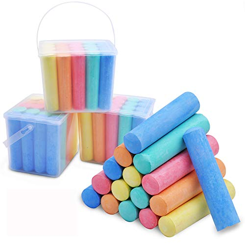 60 PCS Jumbo Washable Bulk Chalk Non-Toxic Sidewalk Chalks Set for Art Play, Painting on Chalkboard and Outdoor Playground