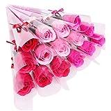 [プラス チアフル] バラ ソープフラワー プチギフト 花束 ギフト まるで 生花 のような 薔薇 一輪 × 15本 (赤系 ミックス)