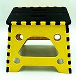 Porygon Banco Taburete Plegable Plástico 120 kg Uso Rudo Resistente (Amarillo, Chico Altura 27 cms)