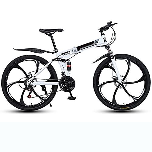 YGTMV Adult Mountain Bike,High-Carbon Steel 26 Inch 24 Speed 6 Knife Spoke Wheel Mountain Bike,Double Disc Brake Folding Mountain Bike Bicycle,White,26 Inch 24 Speed